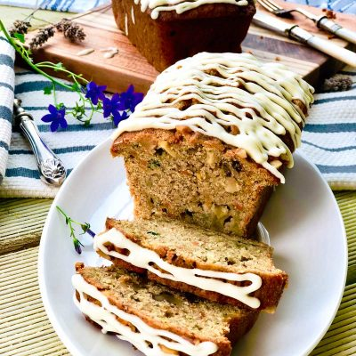 Apple, carrot and zucchini cake with ginger and turmeric
