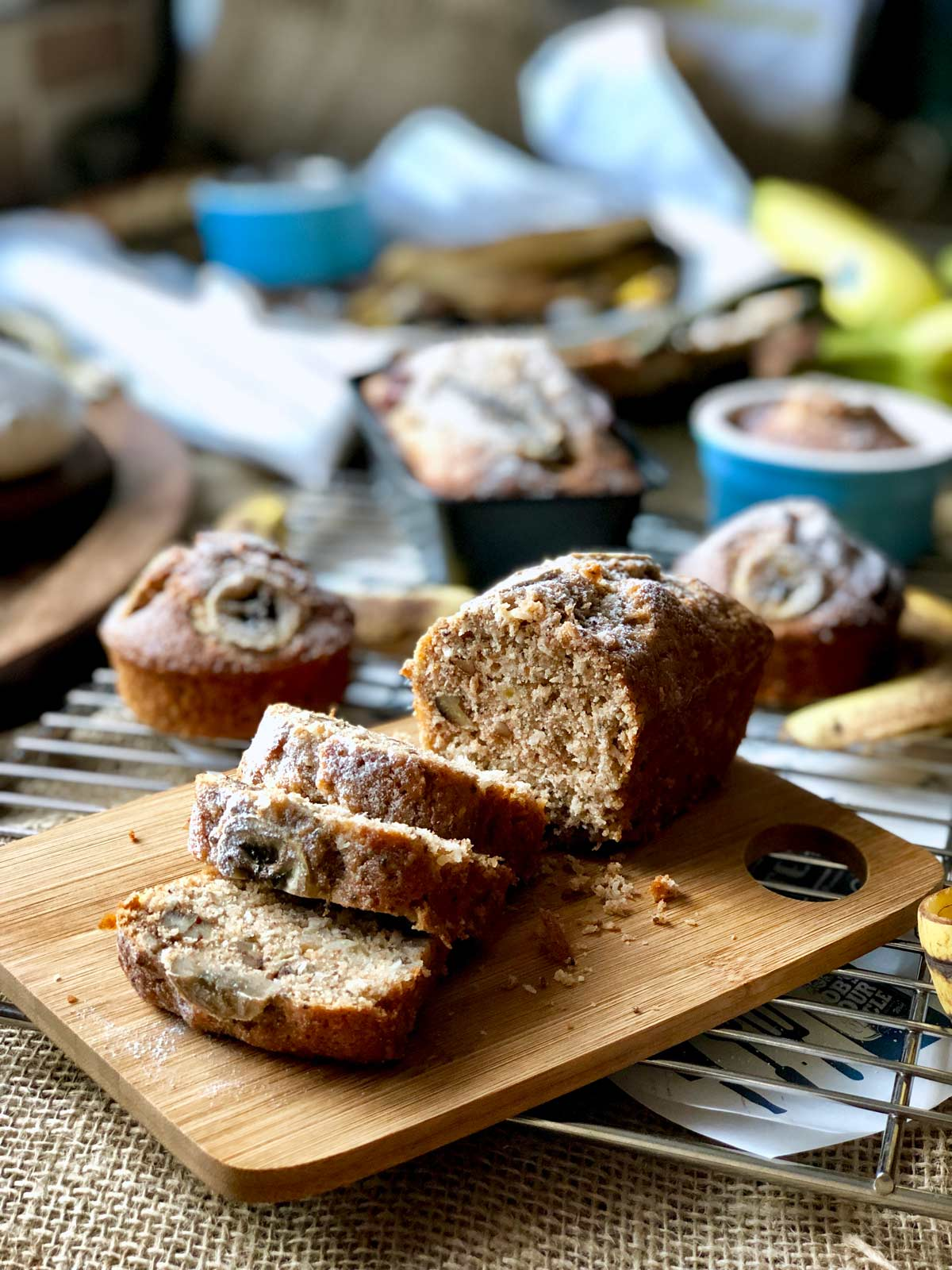 Banana loaf with pecans and coconut