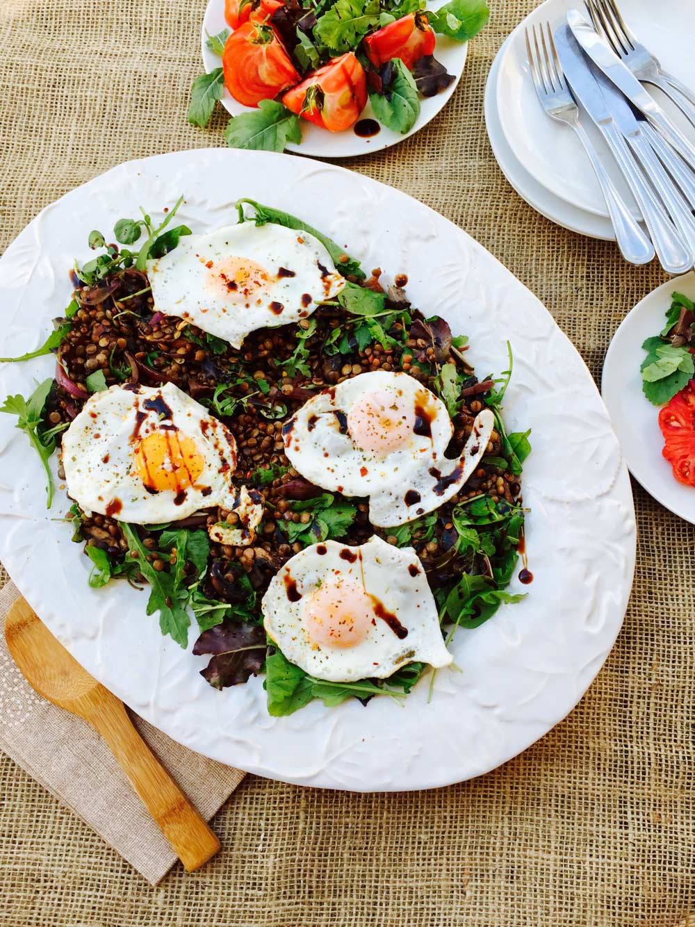Brown and green lentils with portobello mushrooms, wasabi rocket and watercress hearty salad