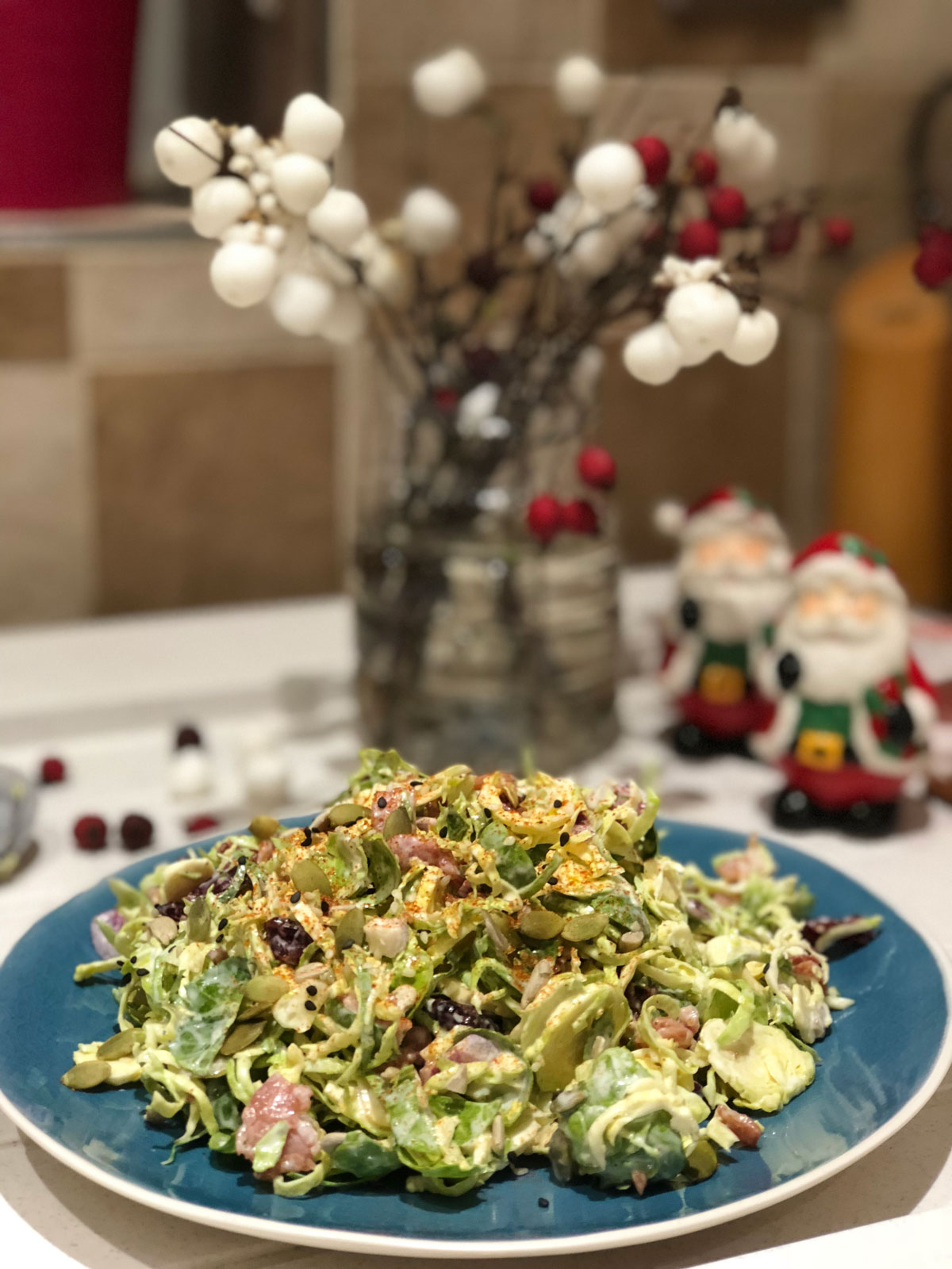 Brussels sprouts, cranberries and bacon salad plate