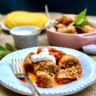 Cabbage rolls 'sarmale' stuffed with ground beef veggies and rice