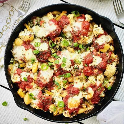Cauliflower bake with gnocchi and mozzarella