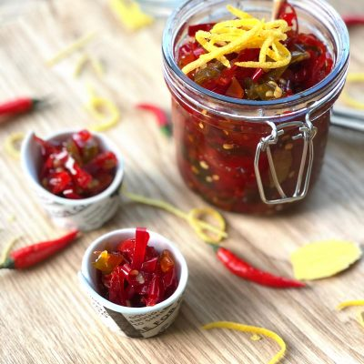 Chilli, ginger and lemon rind jam