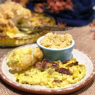 Creamy cauliflower with pork medallions turmeric and mushrooms