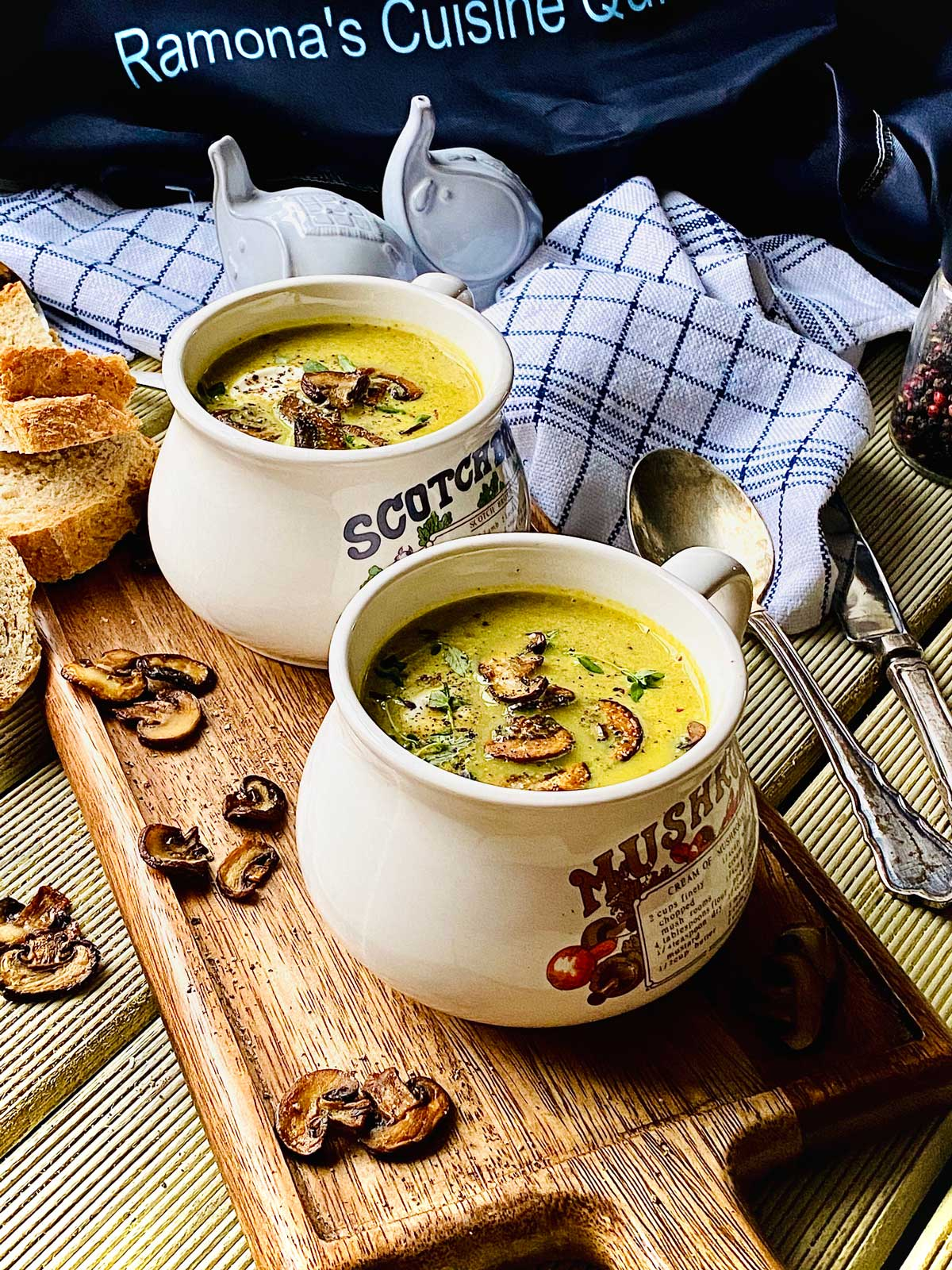 Creamy chestnut mushroom soup with turmeric and thyme