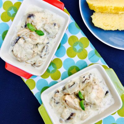 Creamy chicken and mushrooms with polenta