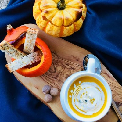 Creamy roasted apple and pumpkin soup