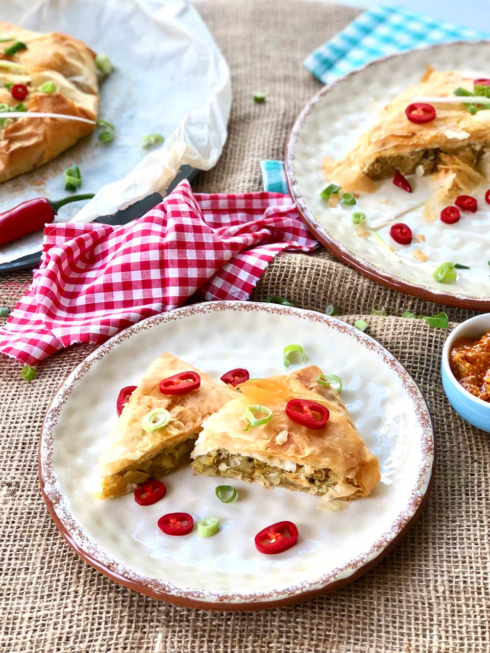 Giant potato and cauliflower filo samosa plate