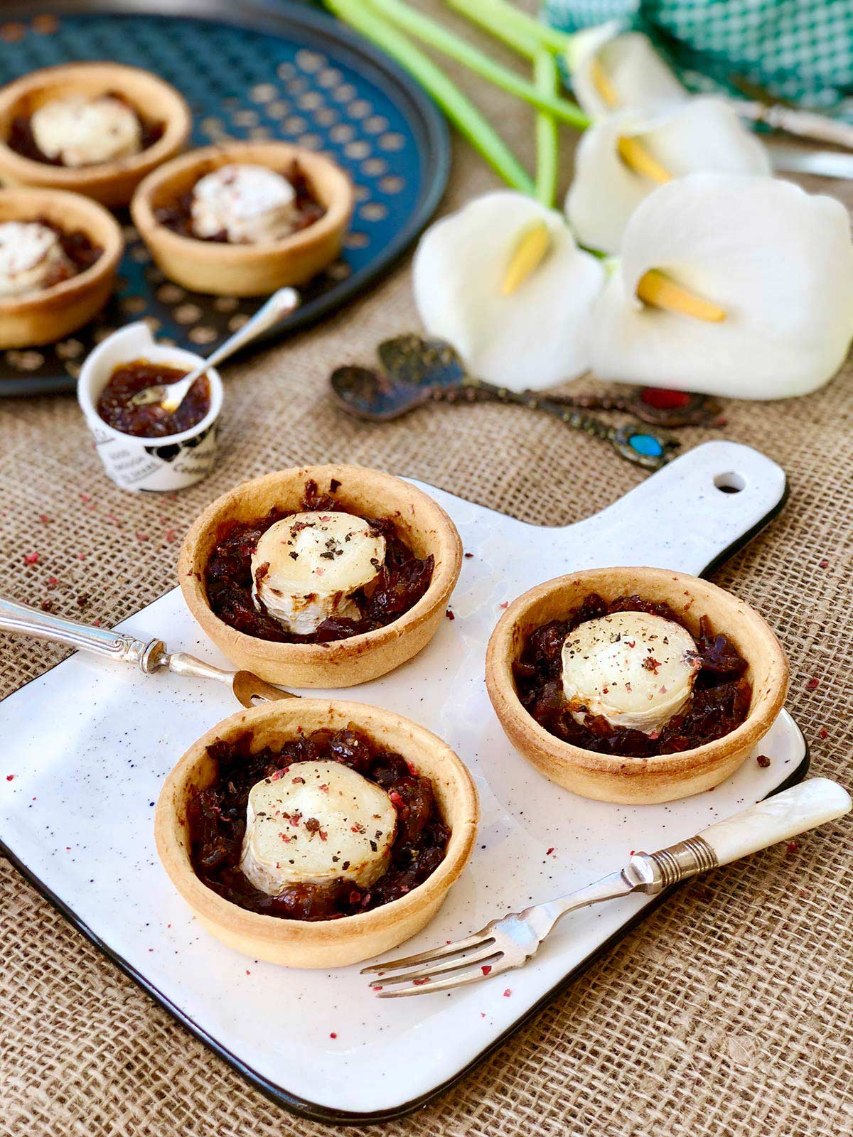 Goats cheese with homemade red onion chutney tartlets