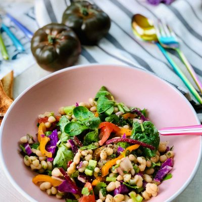 Haricot beans salad with yacon and sweet marmande tomatoes