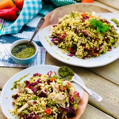 Healthy Chicken breast recipe with giant couscous, pesto sauce and radicchio
