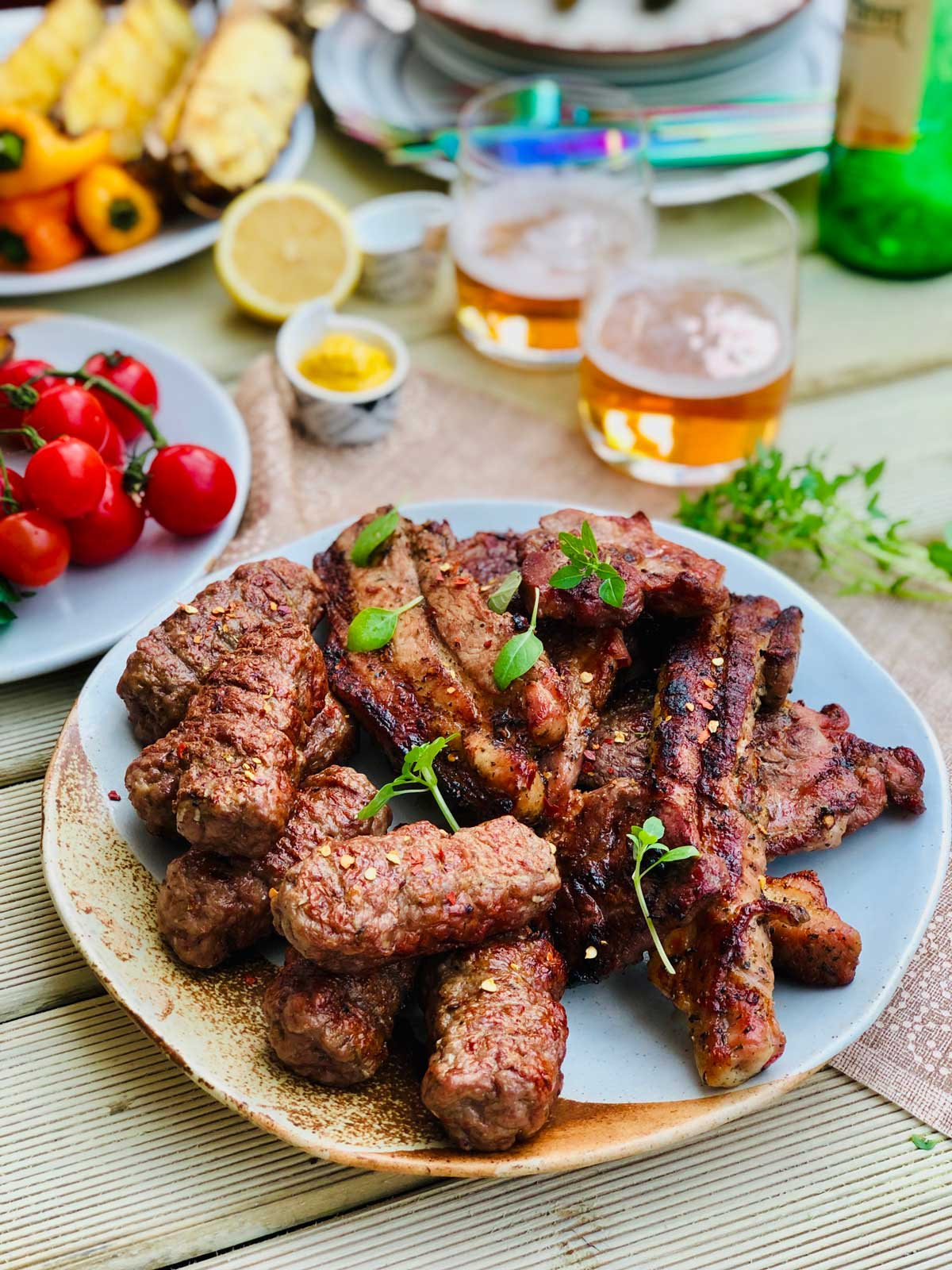 Homemade mici - romanian garlicky meat open sausages