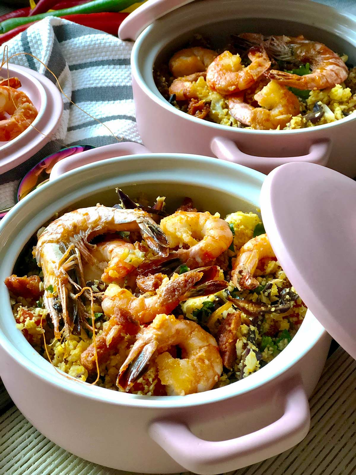 Low Carb Prawn, Chorizo and Cauliflower Couscous