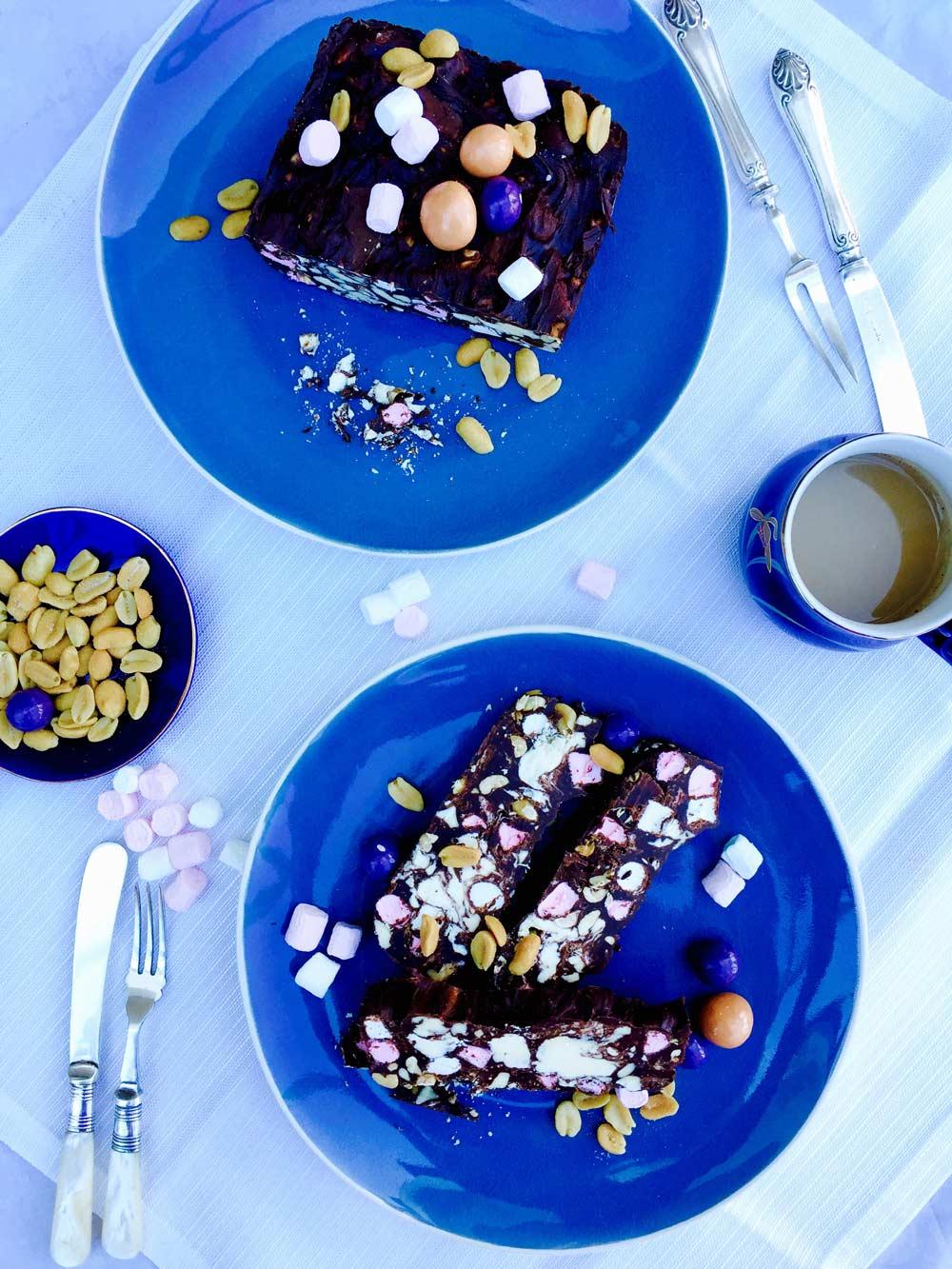 marbled chocolate, mini marshmallows and peanut bars