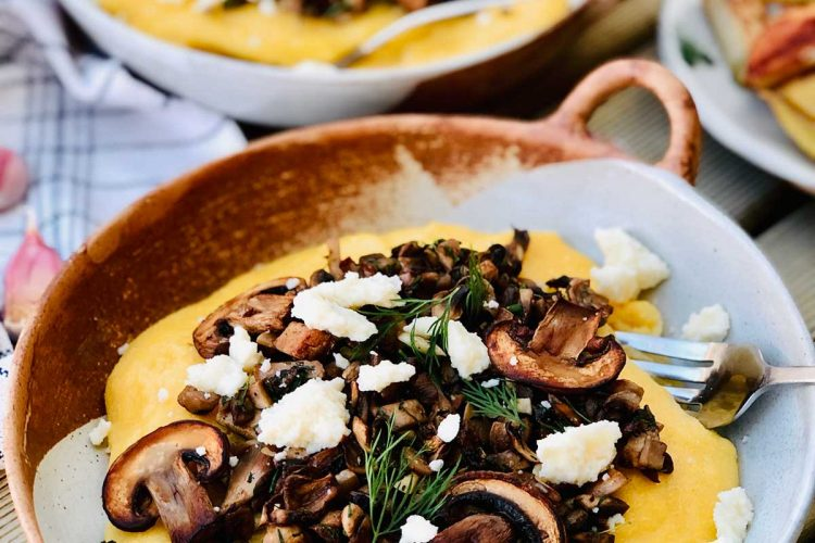 Vegan mushrooms and polenta