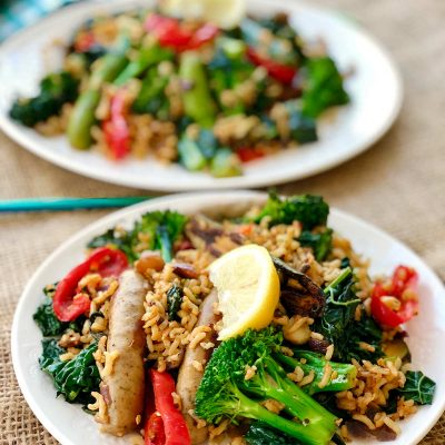 One pan curried wild rice, red quinoa with sausage and Cavolo Nero