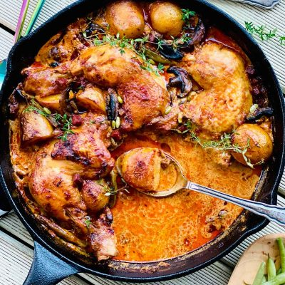 One-pot chicken, chorizo and nduja bake
