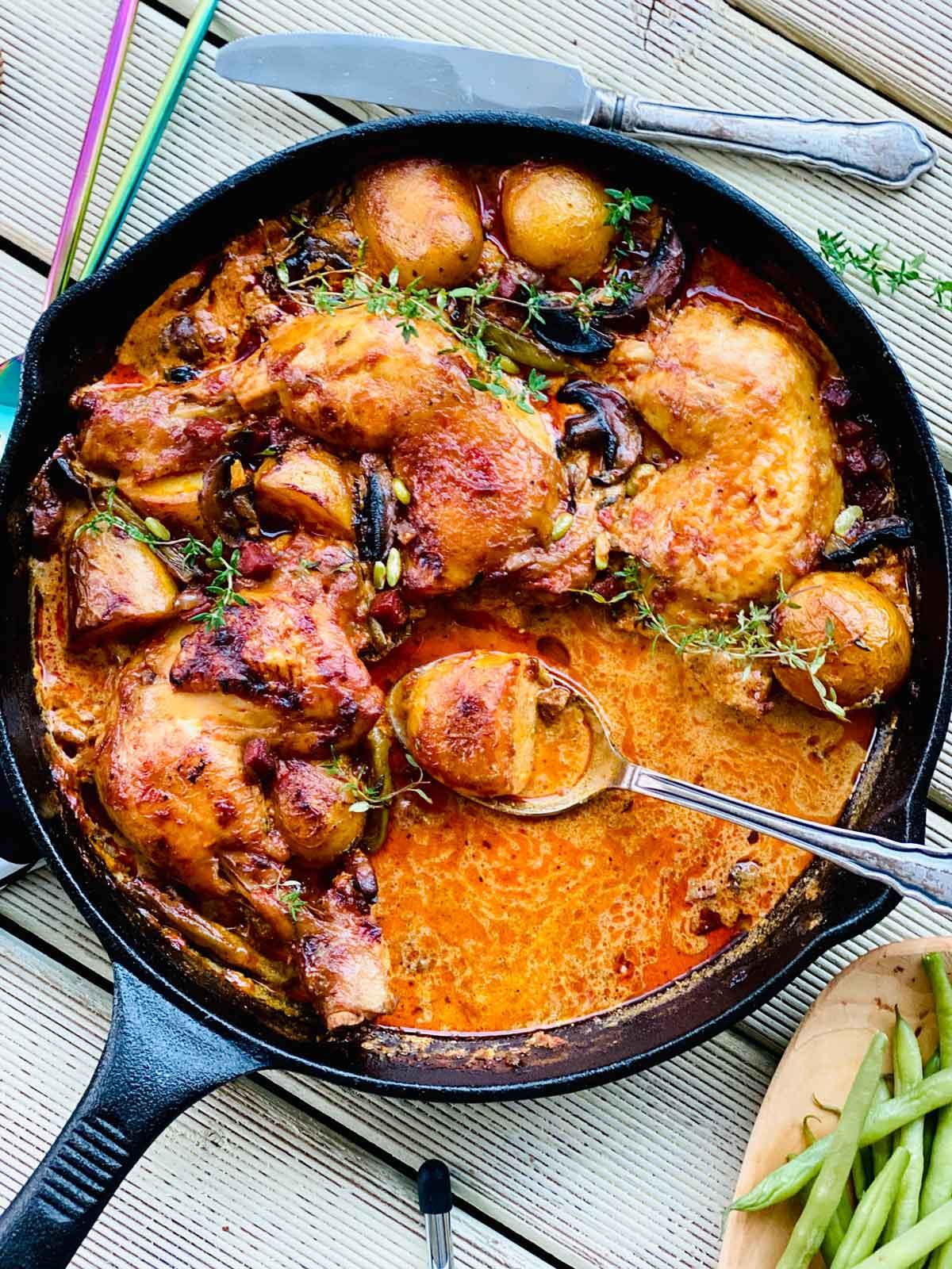 One-pot chicken chorizo and nduja bake
