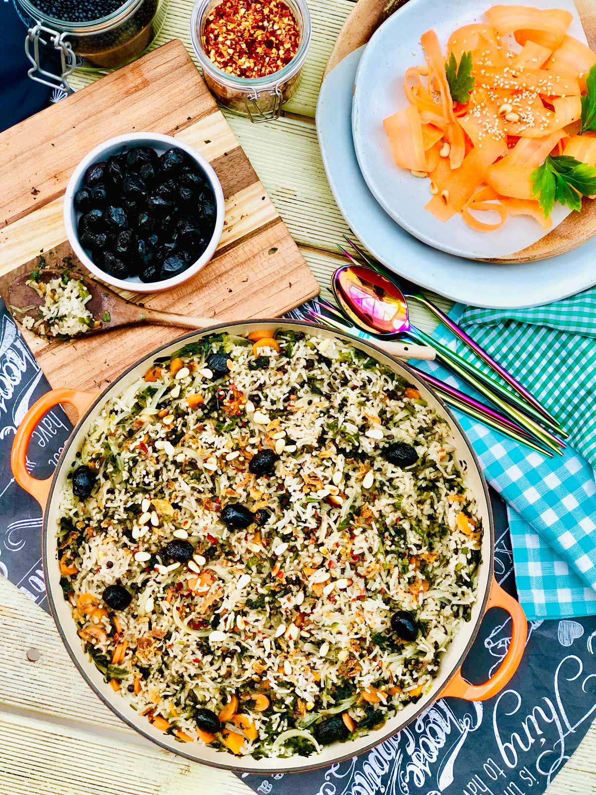 Pilau rice with wild garlic and stinging nettles