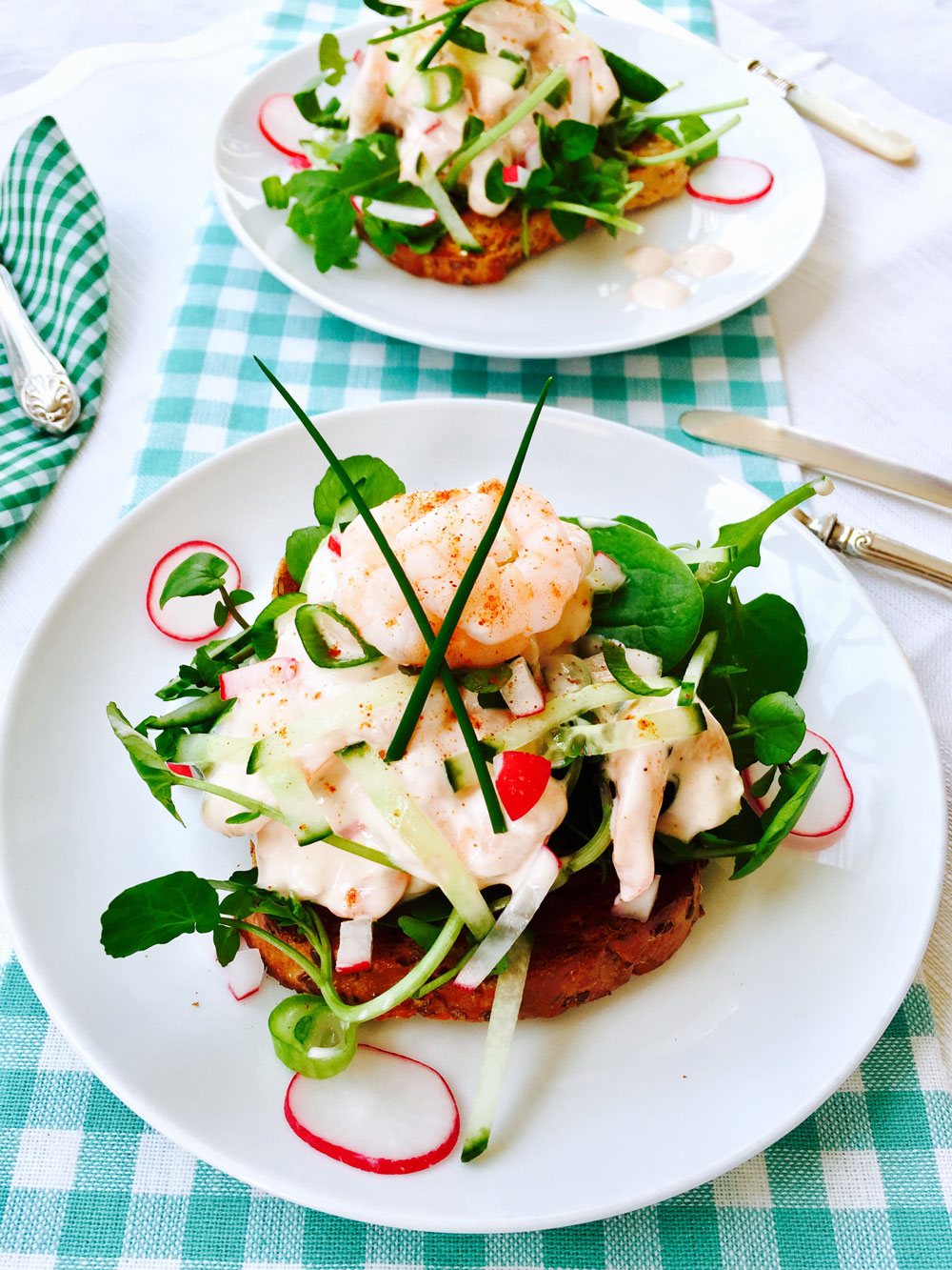 Prawn, radish and cucumber sandwich