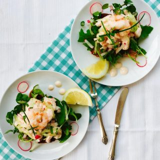 Prawn, radish and cucumber open sandwich