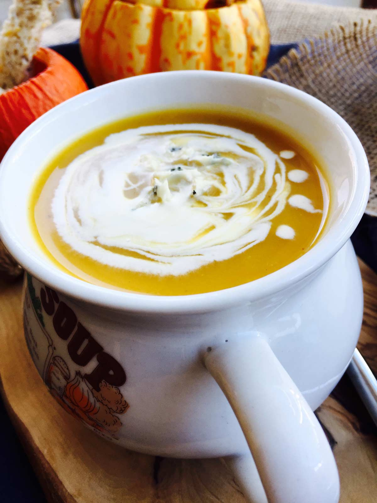 Delicious roast pumpkin and vegetable autumn soup