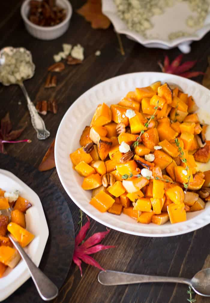 Roasted butternut squash-with pecans and blue cheese