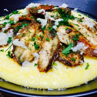 sardine and polenta with garlic and cheese