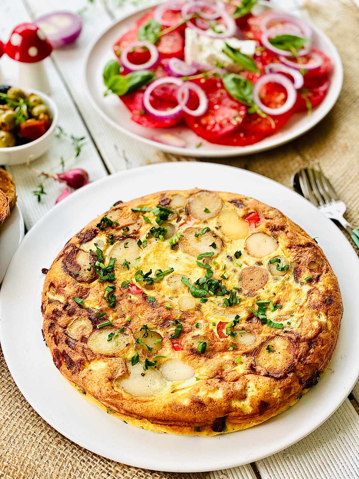 Spanish Omelette on a white plate