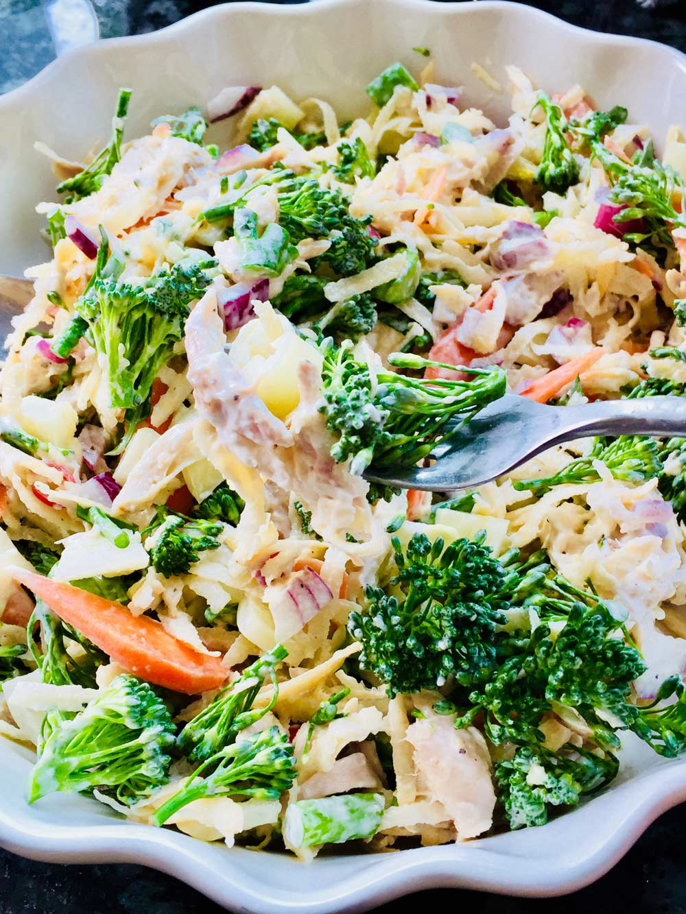Swede, raw broccolini and chicken salad