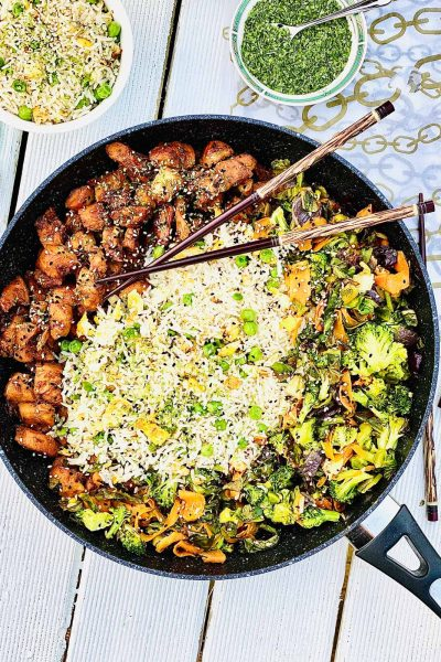 Teriyaki chicken egg fried rice with vegetables