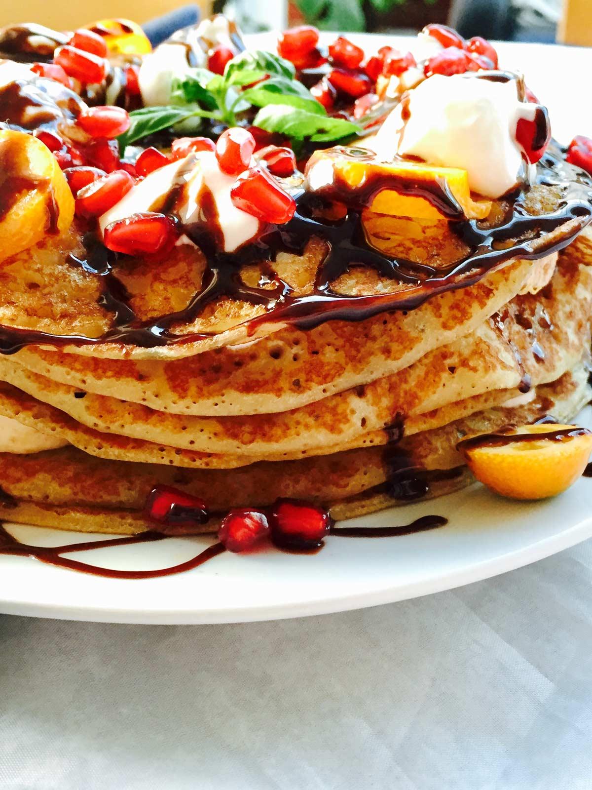 Tutti frutti fluffy pancake cake with fruits
