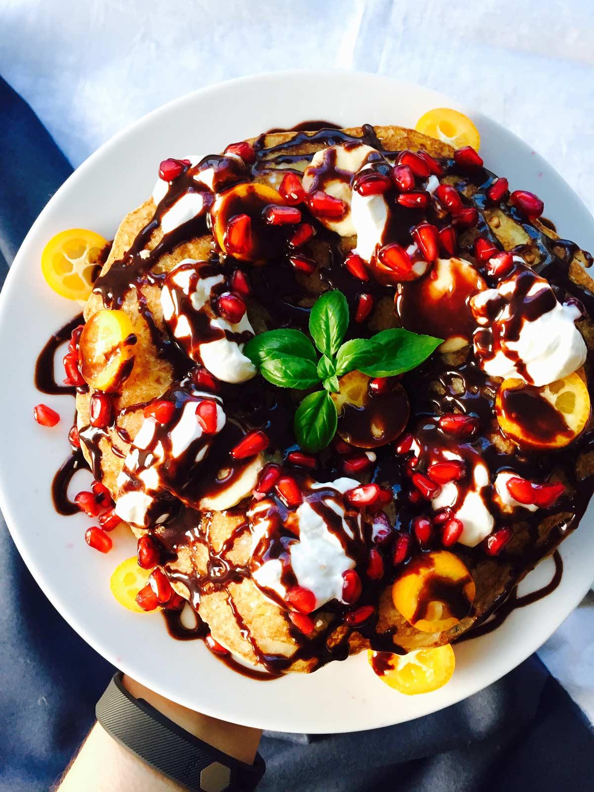 Tutti frutti fluffy pancake cake with fruits and crème boola-boola