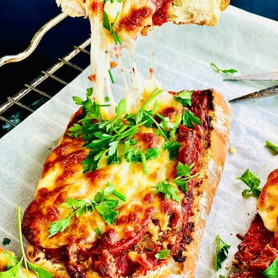 Vegetarian pizza on ciabatta bread
