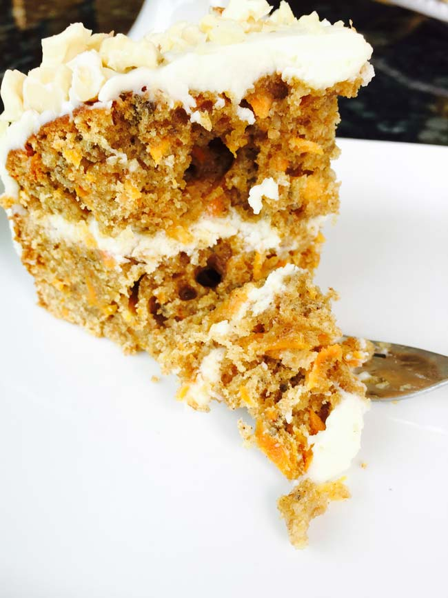 A slice of carrot, chia seeds and ginger cake