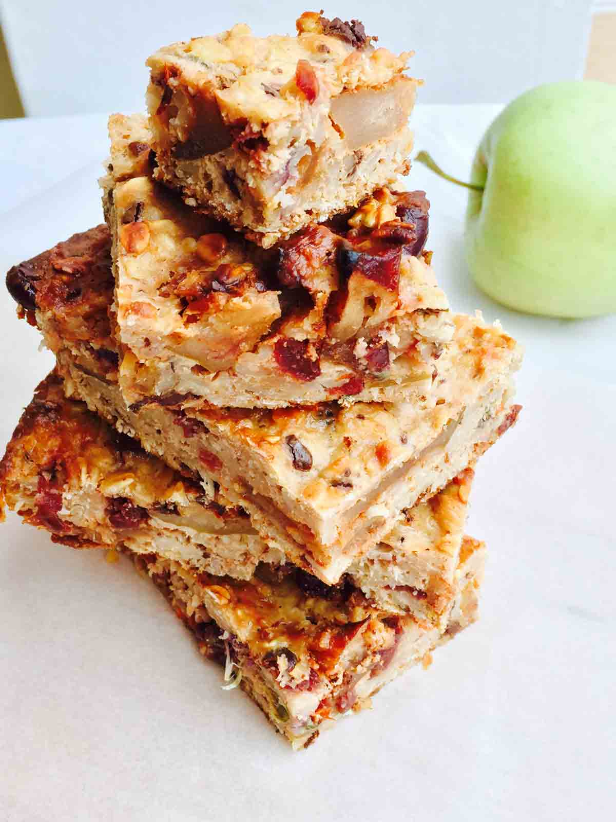 A tower of apple and cranberry slices of breakfast delight.