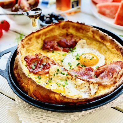 Bacon and Eggs Dutch Baby Pancake