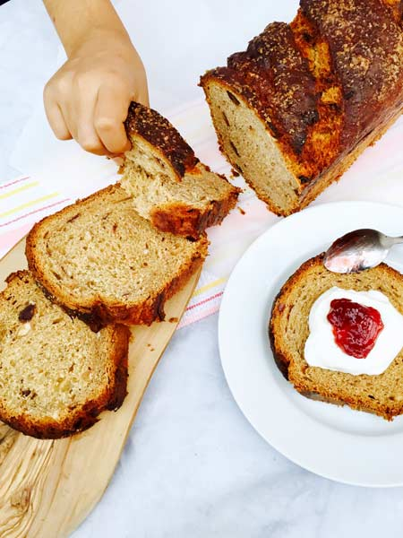 A few slices of scrumptious banana, dates and rum loaf.