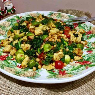 A festive plate of curried Brussels sprouts, with chicken and chopped cavolo Nero.