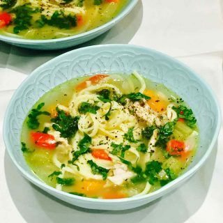 A bowl of chicken soup, a comfort food for all seasons, especially winter.