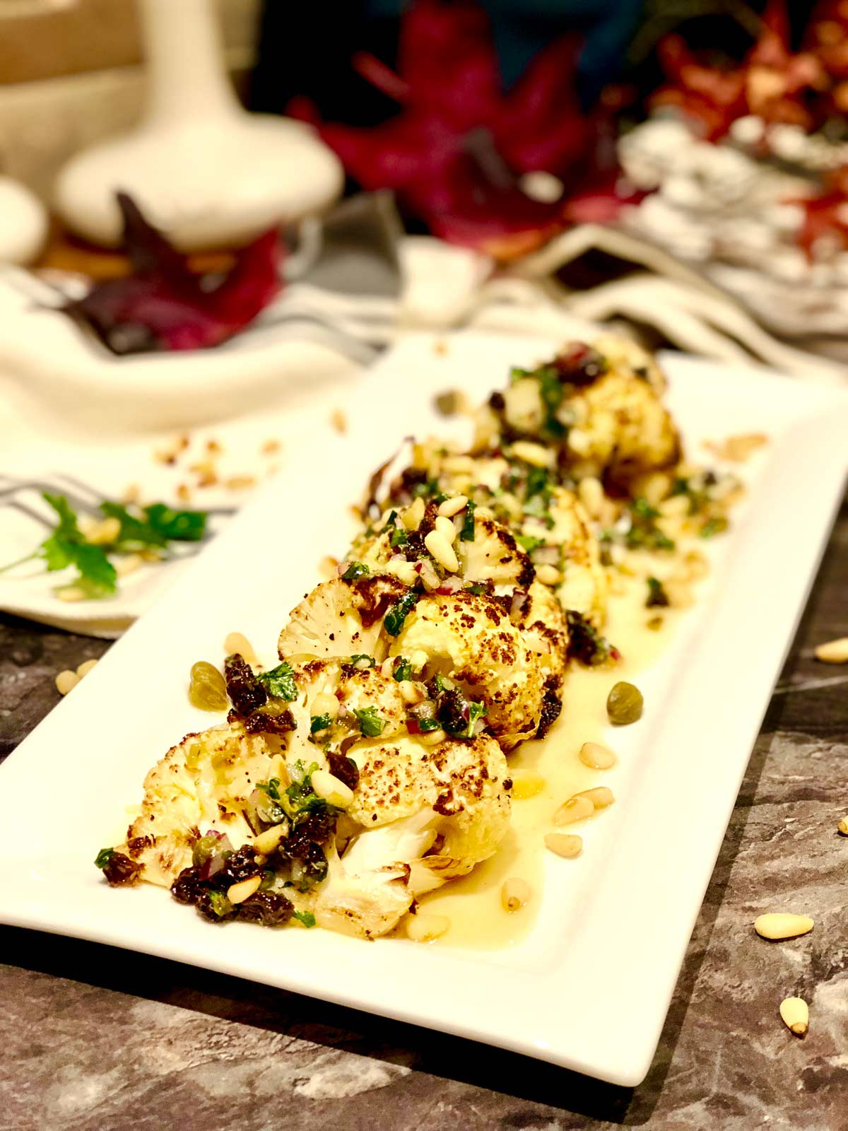 chunky roasted cauliflower with capers and raisins