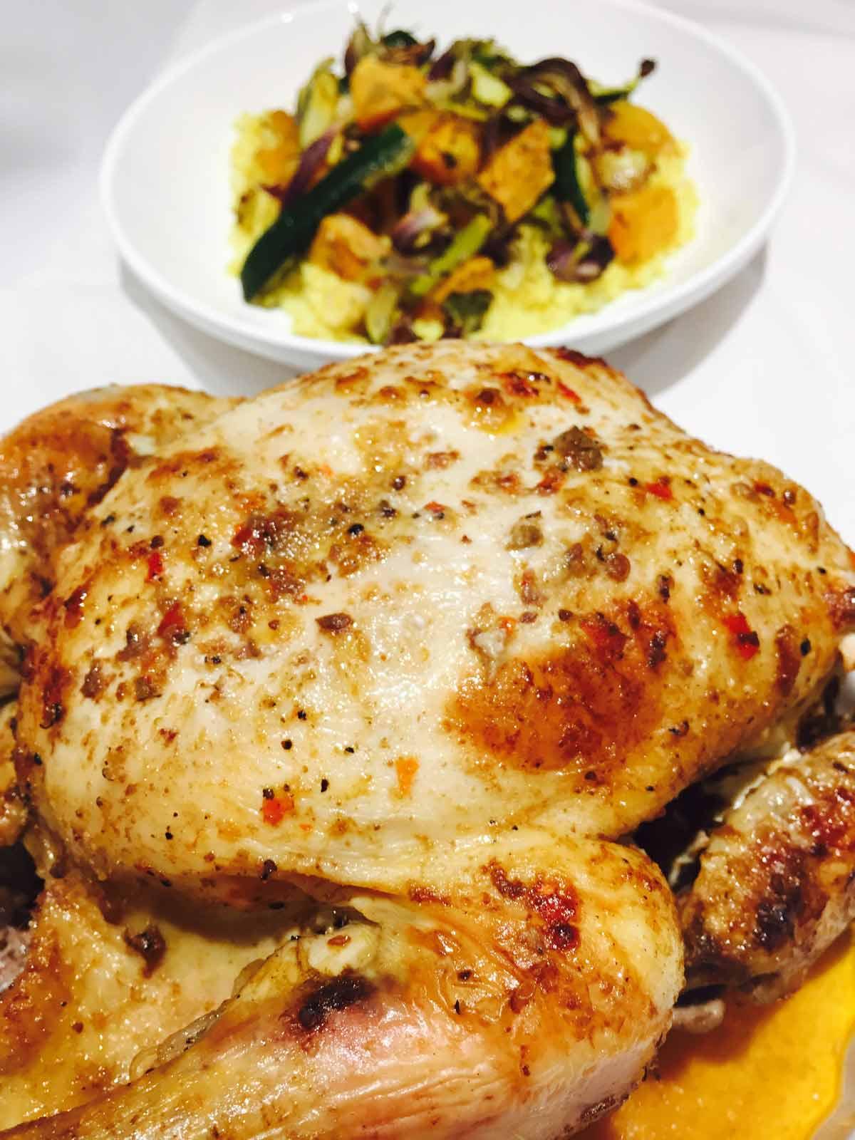 Crispy thai roast chicken, whole