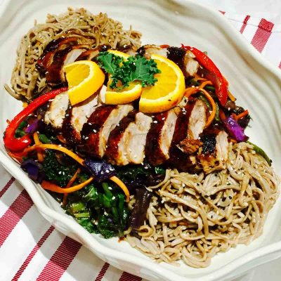 Delicious duck on soba buckwheat noodles