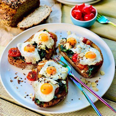 Eggs with spinach breakfast