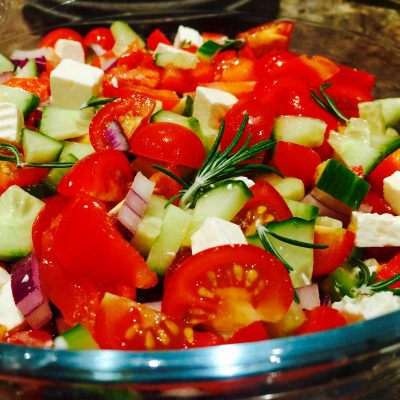 Chunky feta cheese salad