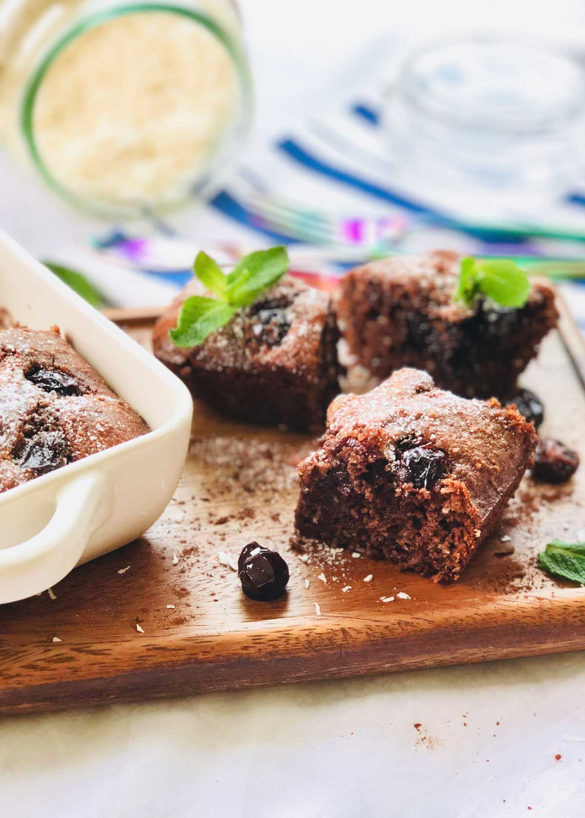 gluten free almond sour cherries and raw organic cacao squares
