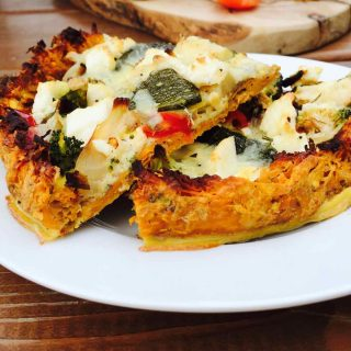Enjoy a scrumptious gluten free veggie pizza, a low carb vegetable dish full of flavors and a fast feast to prepare.