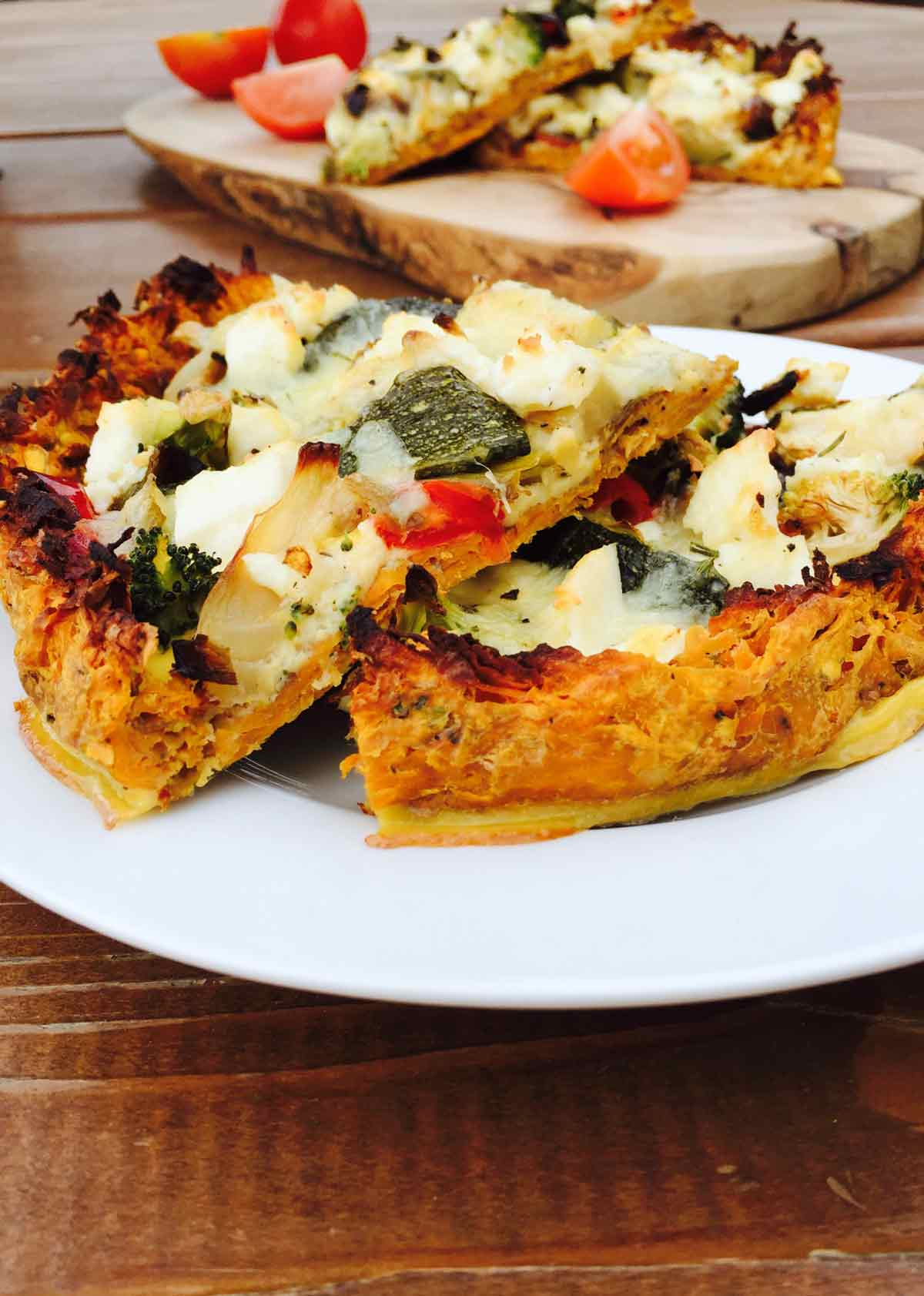 Enjoy a scrumptious no-dough veggie pizza, a low carb vegetable dish full of flavors and a fast feast to prepare.