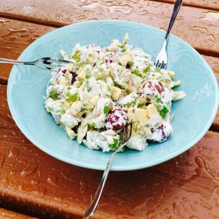 A plate of grapes & cheese salad