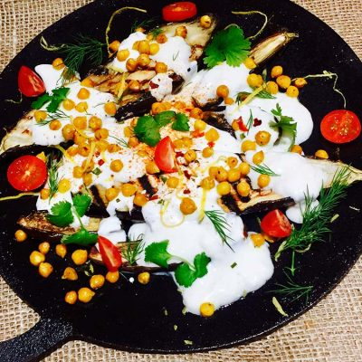 Baked aubergine with cumin and yoghurt sauce